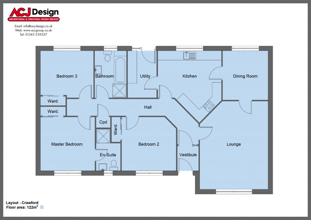 Crawford house type floor plan with ACJ Design Logo - 3 bedroom bungalow - 122m2 floor area