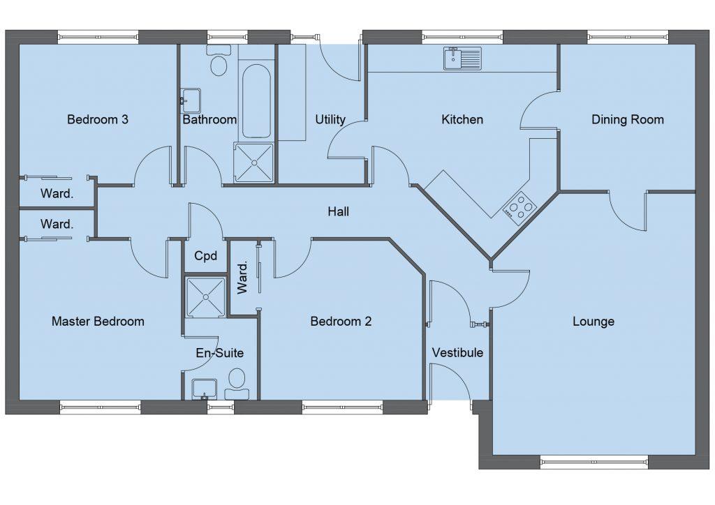 Crawford house type floor plan - 3 bedroom bungalow - 122m2 floor area