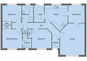 Crawford house type floor plan - 3 bedroom bungalow - 122m2 floor area
