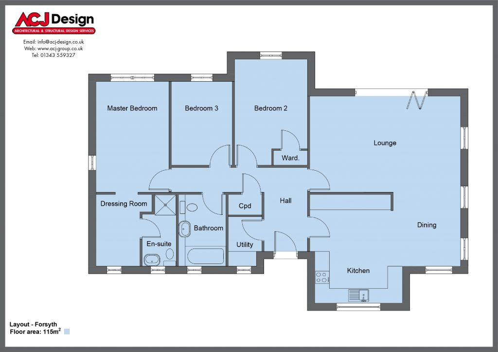 Forsyth house type floor plan with ACJ Design Logo - 3 bedroom bungalow - 115m2 floor area