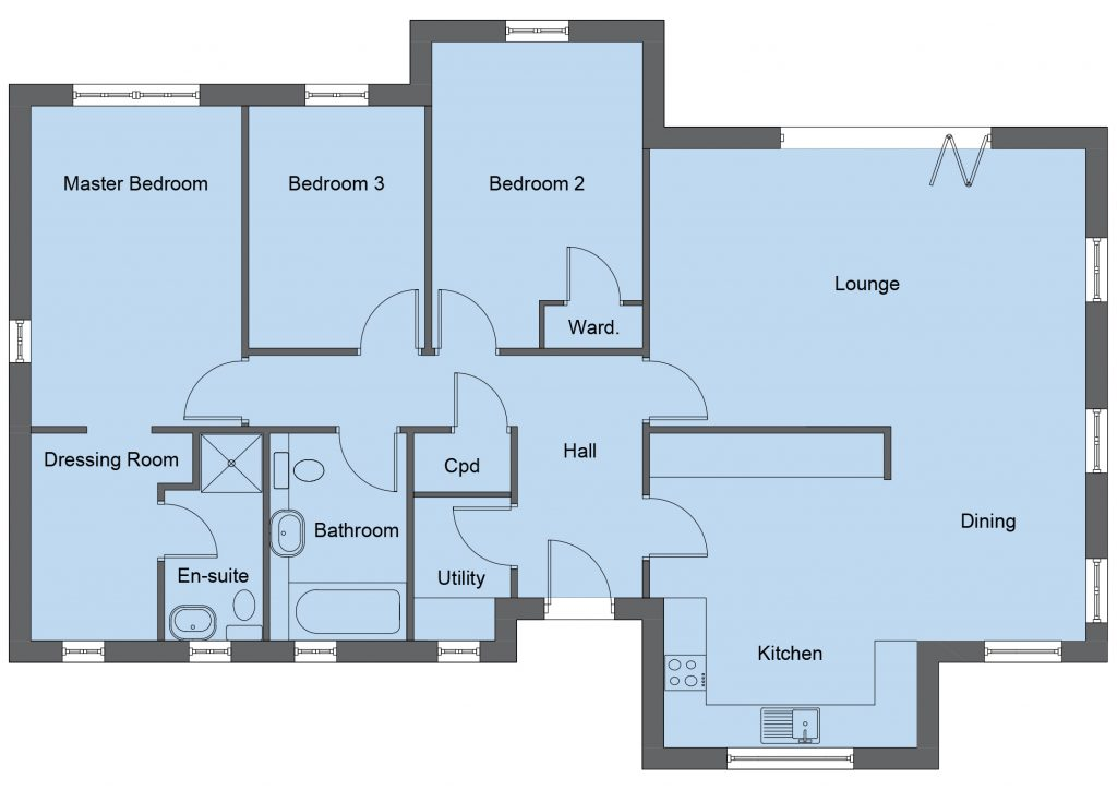 Forsyth house type floor plan - 3 bedroom bungalow - 115m2 floor area