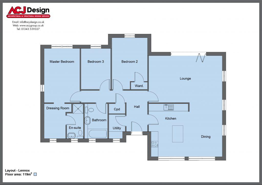 Lennox house type floor plan with ACJ Design Logo - 3 bedroom bungalow - 119m2 floor area