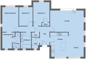 Lennox house type floor plan - 3 bedroom bungalow - 119m2 floor area