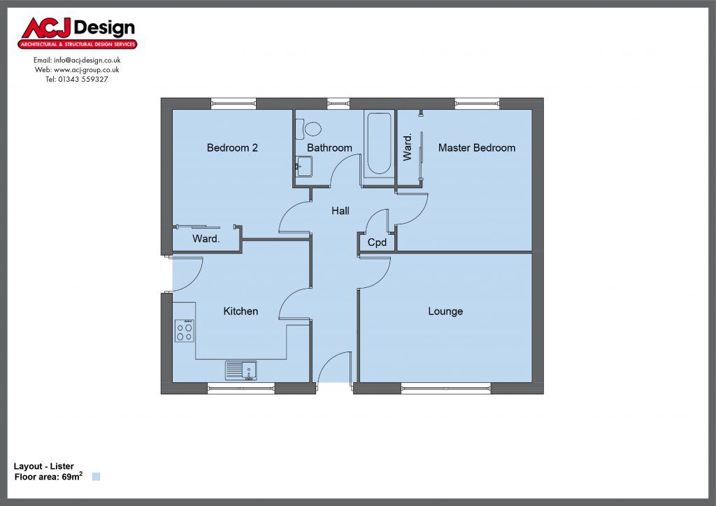 Lister house type floor plan with ACJ Design Logo - 2 bedroom bungalow - 69m2 floor area