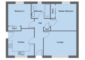 Lister house type floor plan - 2 bedroom bungalow - 69m2 floor area