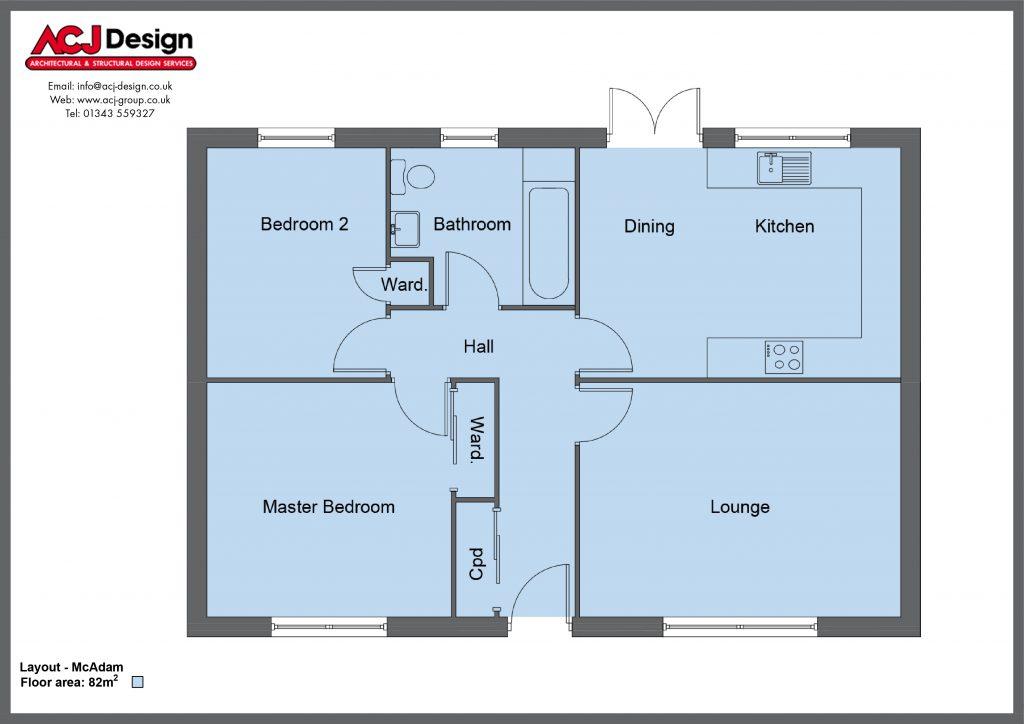 McAdam house type floor plan with ACJ Design Logo - 2 bedroom bungalow - 82m2 floor area