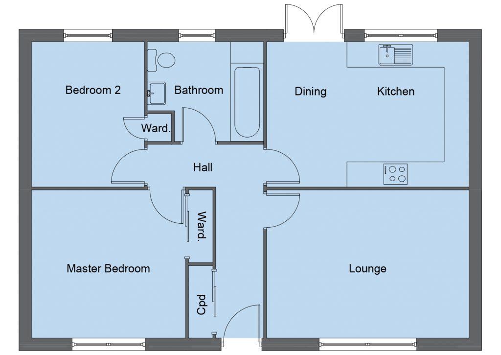 McAdam house type floor plan - 2 bedroom bungalow - 82m2 floor area