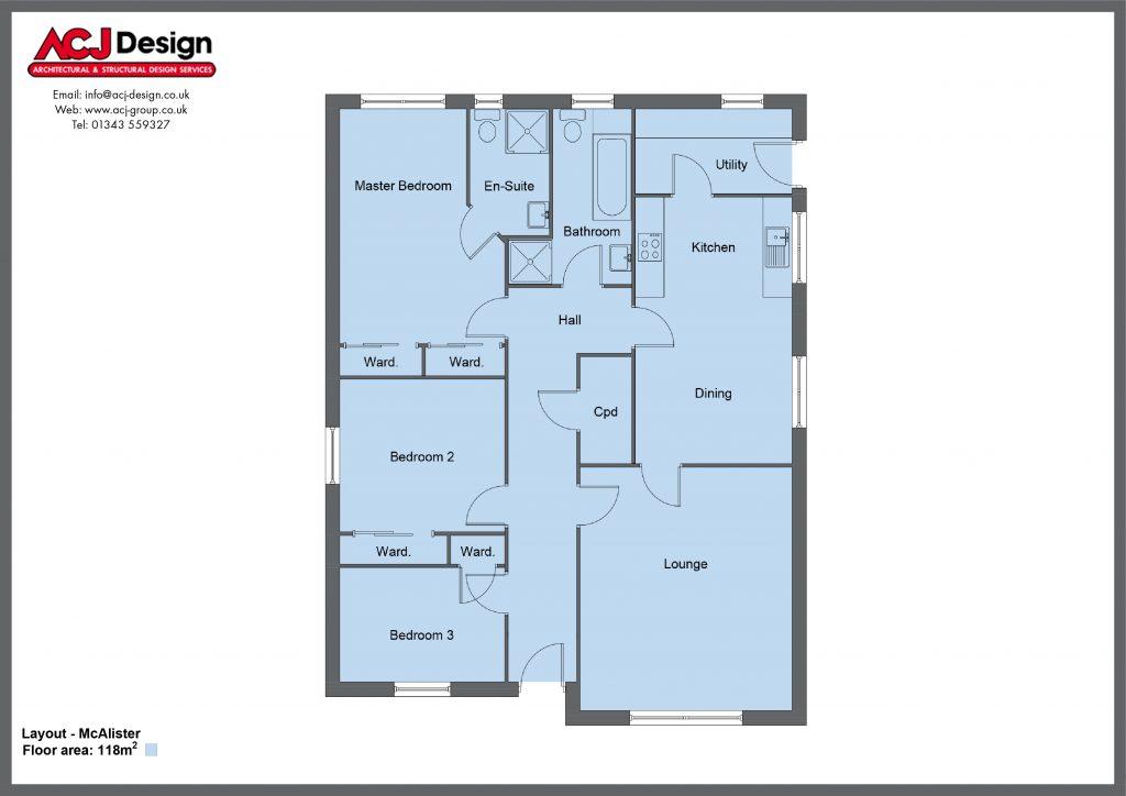 McAlister house type floor plan with ACJ Design Logo - 3 bedroom bungalow - 118m2 floor area