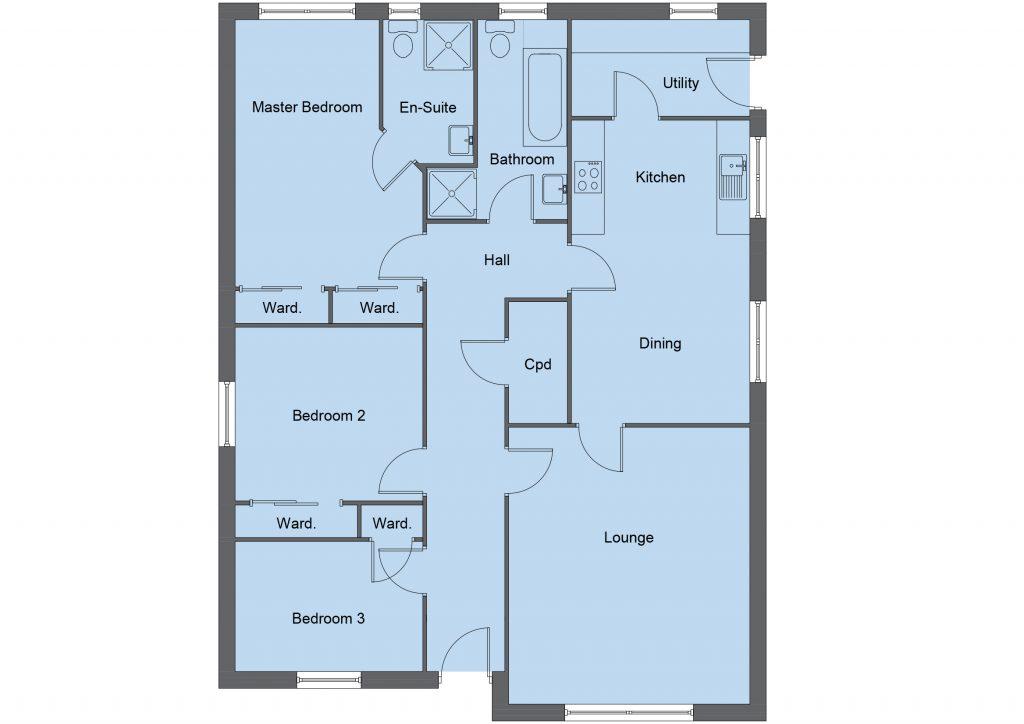 McAlister house type floor plan - 3 bedroom bungalow - 118m2 floor area