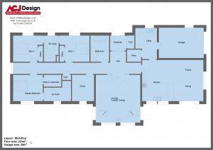 McArthur house type ground floor plan with ACJ Design Logo - 3 bedroom Premier Range - 248m2 floor area