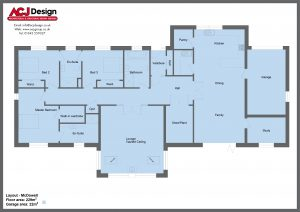 McDowell house type ground floor plan with ACJ Design Logo - 3 bedroom Premier Range - 251m2 floor area