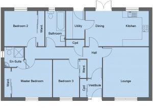 Munro house type floor plan - 3 bedroom bungalow - 103m2 floor area