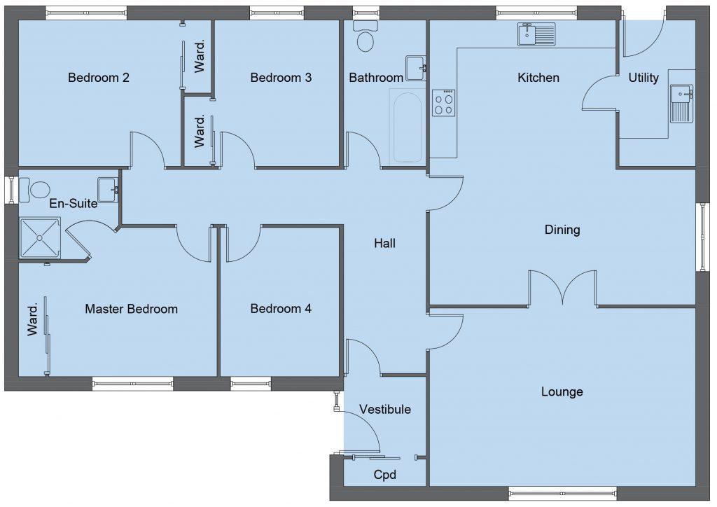 Ramsay house type floor plan - 4 bedroom bungalow - 136m2 floor area