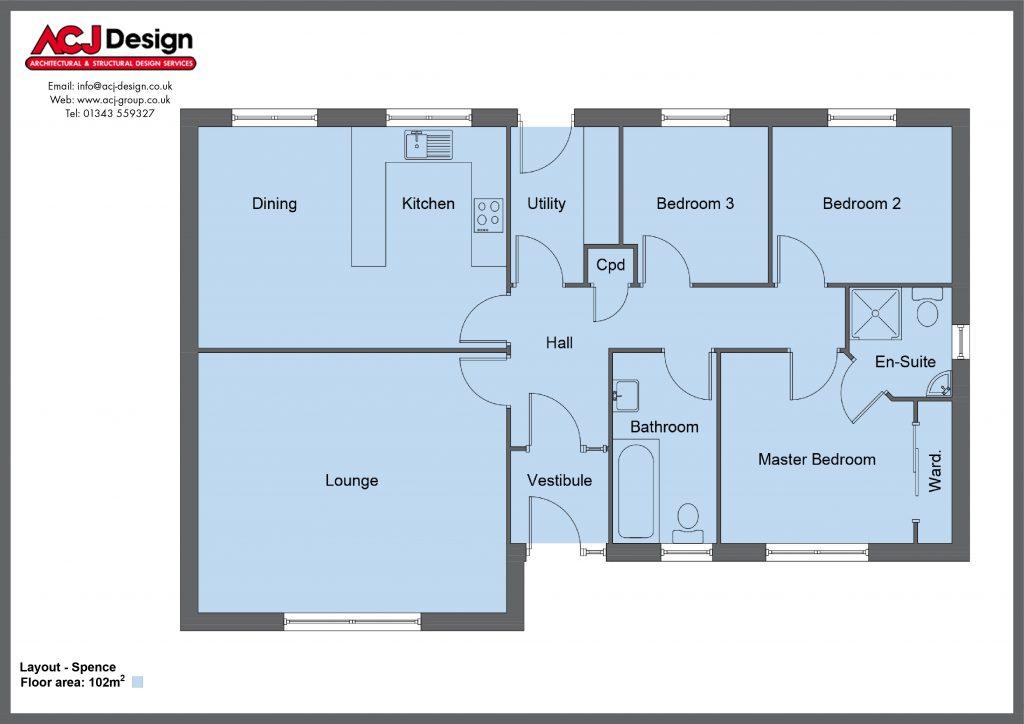 Spence house type floor plan with ACJ Design Logo - 3 bedroom bungalow - 102m2 floor area