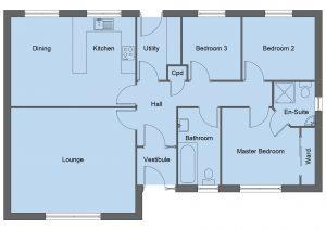 Spence house type floor plan - 3 bedroom bungalow - 102m2 floor area
