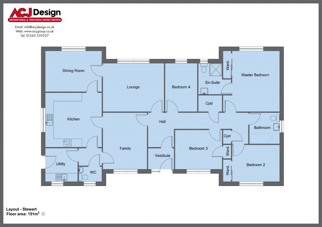 Stewart house type floor plan with ACJ Design Logo - 4 bedroom bungalow - 151m2 floor area