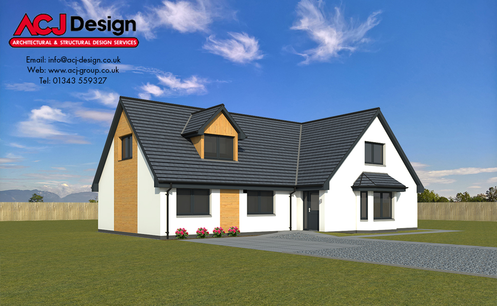 Lennox house type elevation with ACJ Design Logo - 3D Render Image