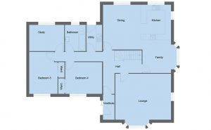 Lennox house type ground floor plan - 5 bedroom 1 ½ Storey Range - 246m2 floor area