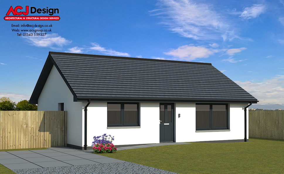 Lister house type elevation with ACJ Design Logo - 3D Render Image