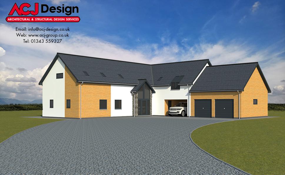 MacGregor house type elevation with ACJ Design Logo - 3D Render Image