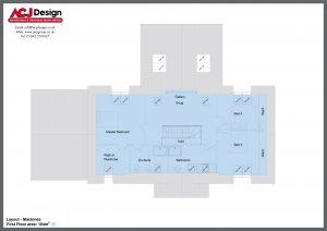 MacInnes house type first floor plan with ACJ Design Logo - 4 bedroom Premier Range - 277m2 floor area