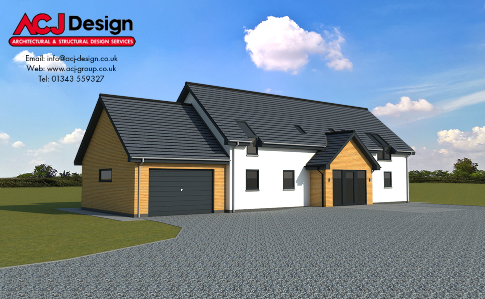 MacInnes house type elevation with ACJ Design Logo - 3D Render