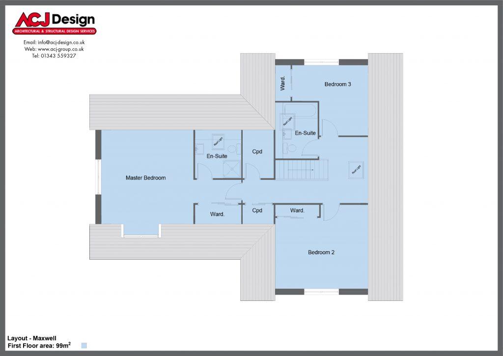 Maxwell house type first floor plan with ACJ Design Logo - 4 bedroom 1 ½ Storey Range - 237m2 floor area