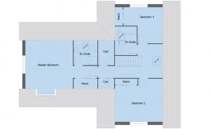 Maxwell house type first floor plan - 4 bedroom 1 ½ Storey Range - 237m2 floor area