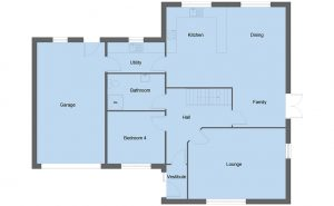 Maxwell house type ground floor plan - 4 bedroom 1 ½ Storey Range - 237m2 floor area