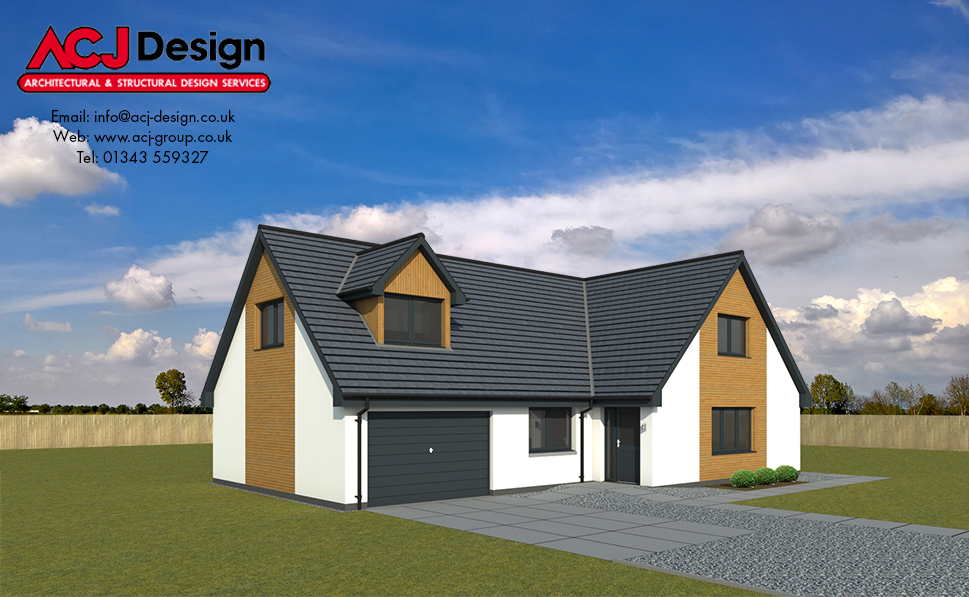 Maxwell house type elevation with ACJ Design Logo - 3D Render Image