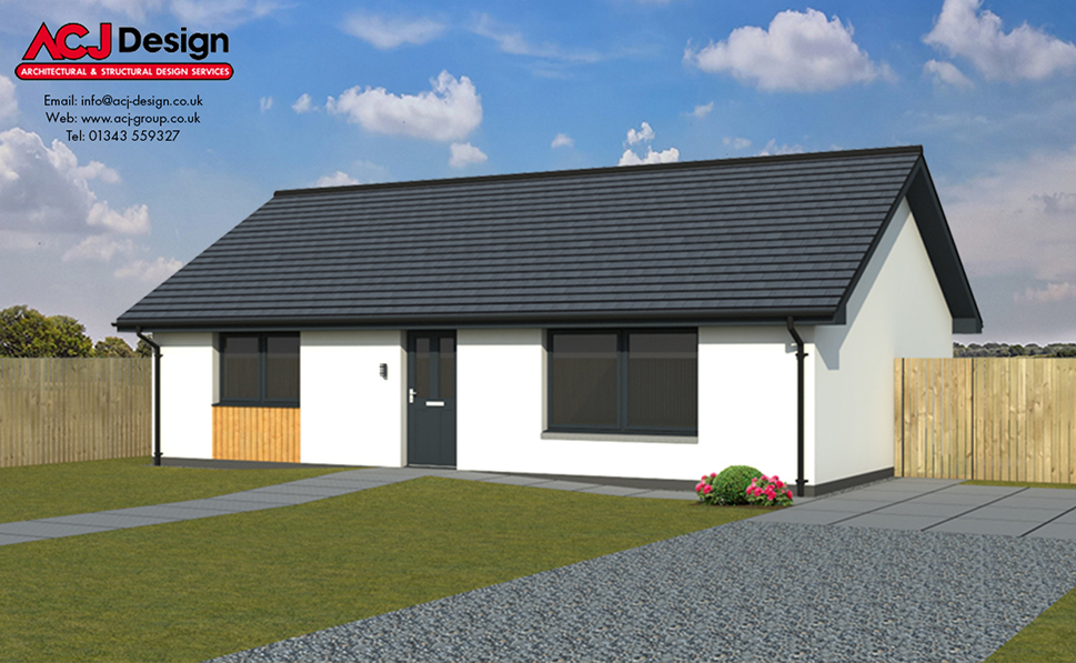 McAdam house type elevation with ACJ Design Logo - 3D Render Image