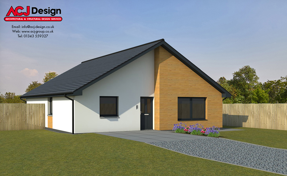 McAlister house type elevation with ACJ Design Logo - 3D Render Image