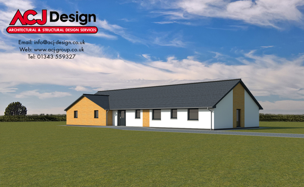 McArthur house type elevation with ACJ Design Logo - 3D Render Image front view