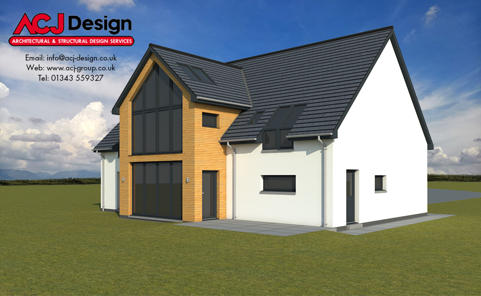 McCulloch house type elevation with ACJ Design Logo - 3D Render Image rear view