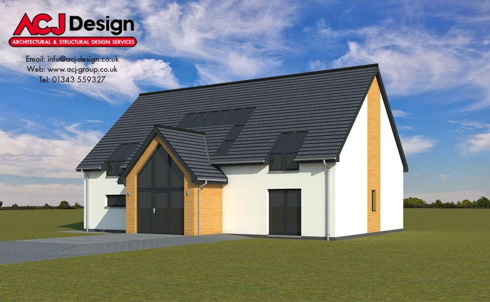 McCulloch house type elevation with ACJ Design Logo - 3D Render Image front view