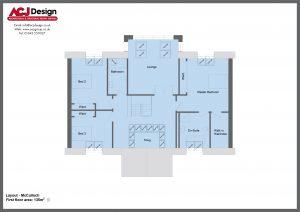 McCulloch house type first floor plan with ACJ Design Logo - 4 bedroom Premier Range - 278m2 floor area