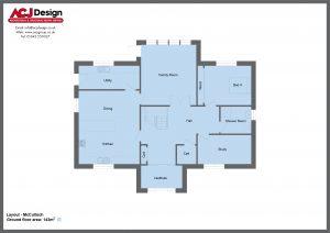 McCulloch house type ground floor plan with ACJ Design Logo - 4 bedroom Premier Range - 278m2 floor area