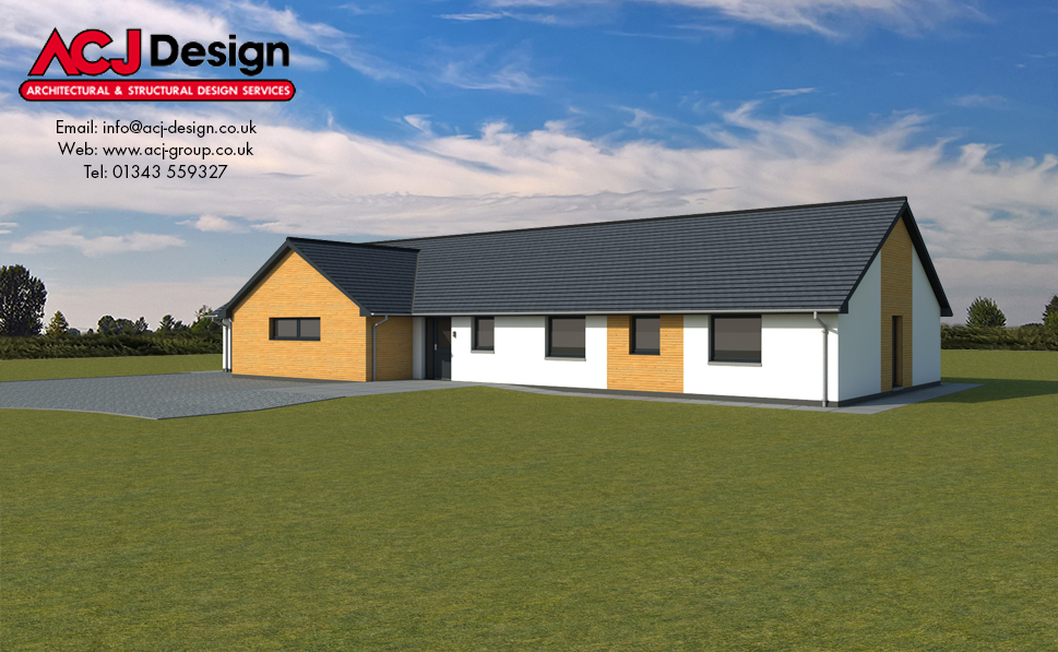 McDowell house type elevation with ACJ Design Logo - 3D Render Image front view