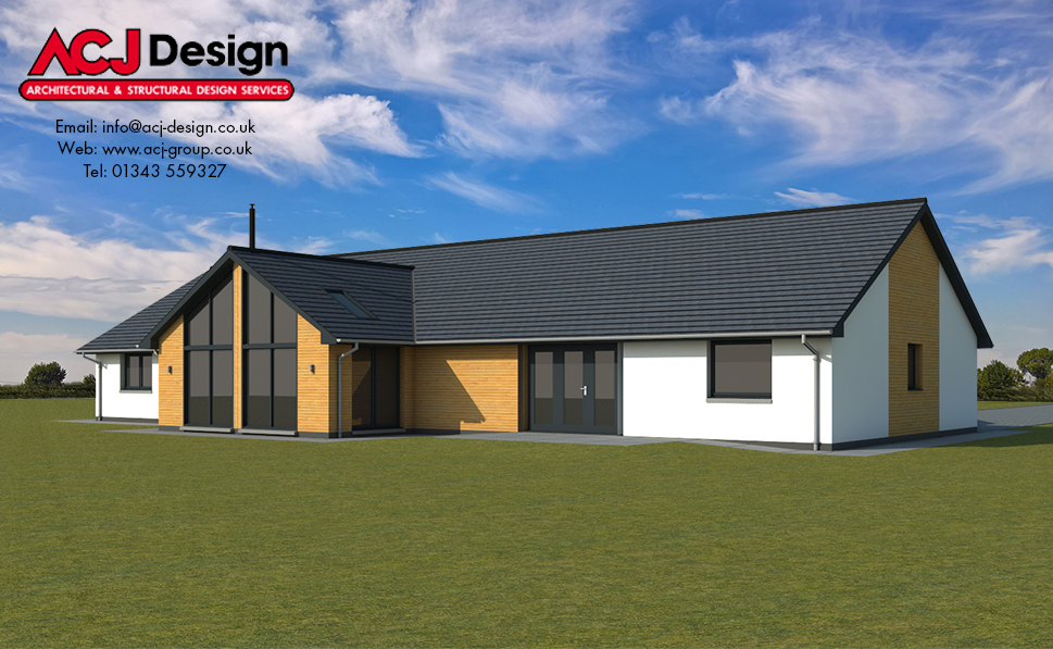 McDowell house type elevation with ACJ Design Logo - 3D Render Image rear view