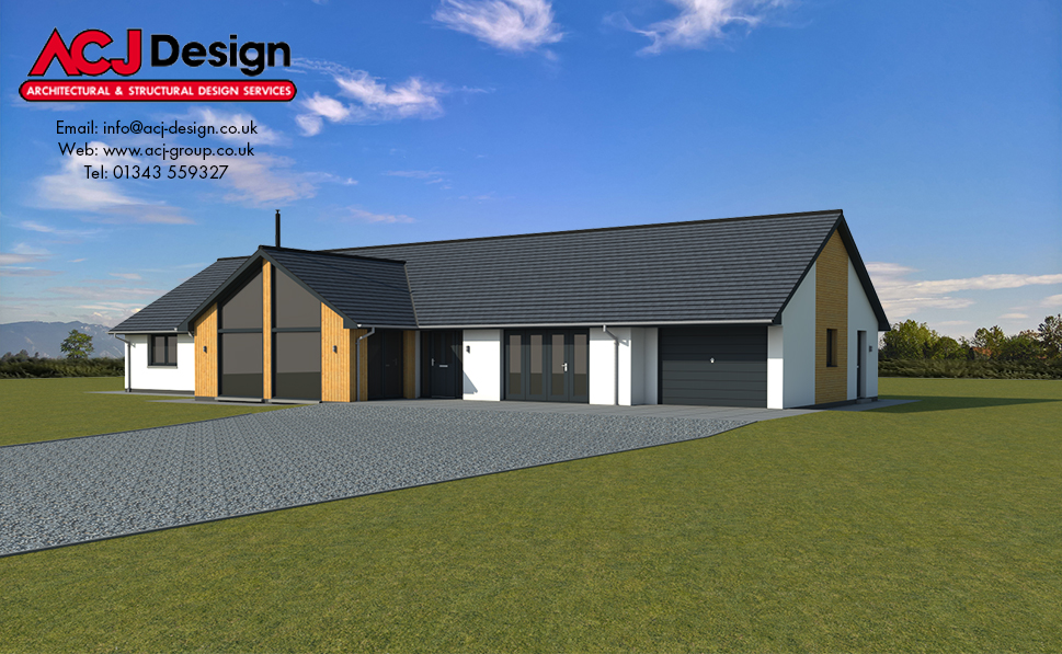 McIntosh house type elevation with ACJ Design Logo - 3D Render Image