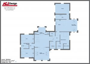 McKellen house type ground floor plan with ACJ Design Logo - 3 bedroom Premier Range - 282m2 floor area