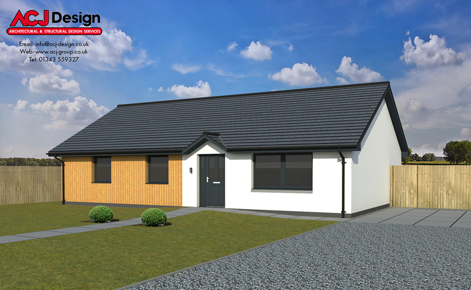Munro house type elevation with ACJ Design Logo - 3D Render Image