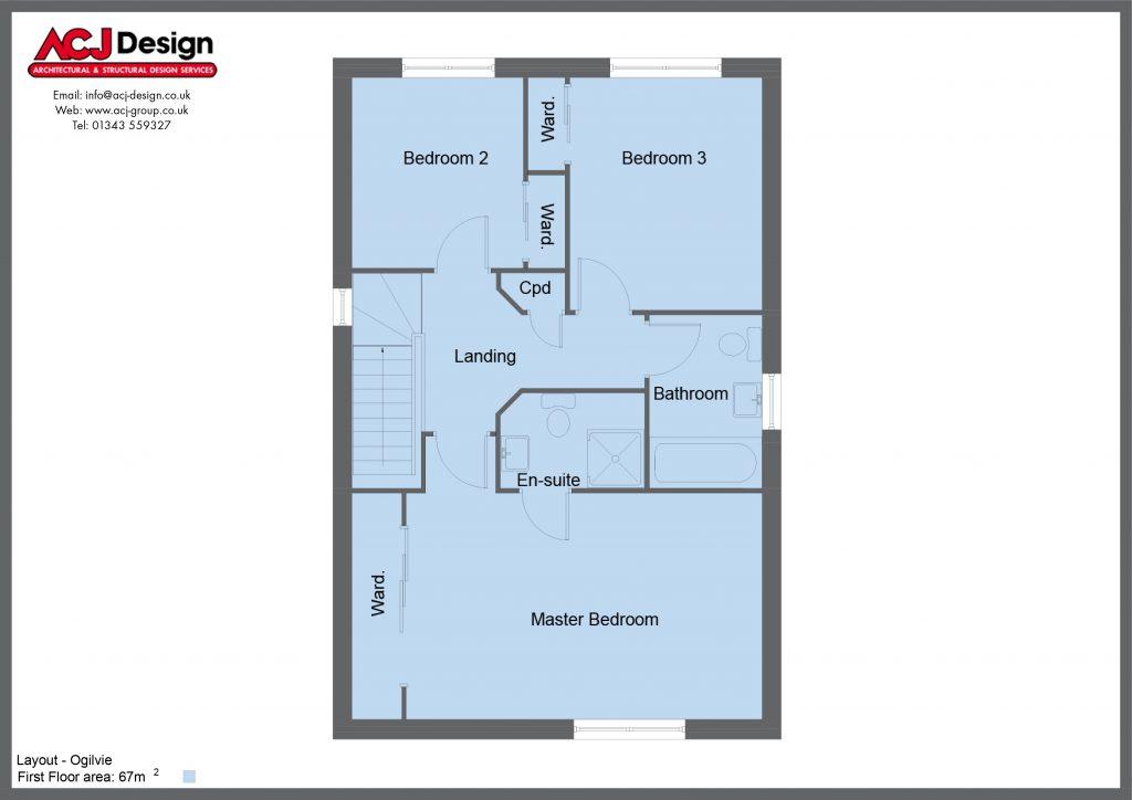 Ogilvie house type first floor plan with ACJ Design Logo - 3 bedroom 2 Storey Range - 134m2 floor area