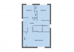 Ogilvie house type first floor plan - 3 bedroom 2 Storey Range - 134m2 floor area