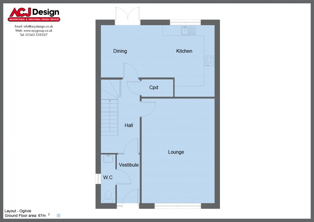 Ogilvie house type ground floor plan with ACJ Design Logo - 3 bedroom 2 Storey Range - 134m2 floor area
