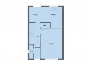 Ogilvie house type ground floor plan - 3 bedroom 2 Storey Range - 134m2 floor area