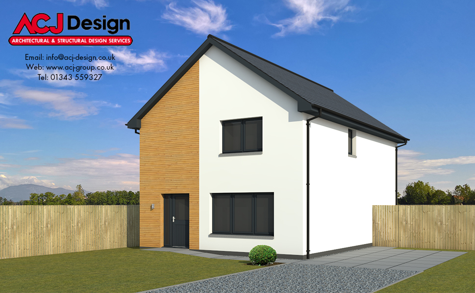 Ogilvie house type elevation with ACJ Design Logo - 3D Render Image