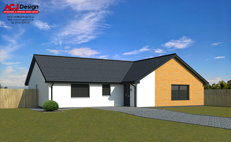 Ramsay house type elevation with ACJ Design Logo - 3D Render Image