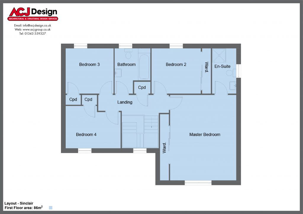 Sinclair house type first floor plan with ACJ Design Logo - 4 bedroom 2 Storey Range - 179m2 floor area