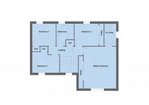 Sinclair house type first floor plan - 4 bedroom 2 Storey Range - 179m2 floor area